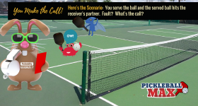 Pickleball Serve Hits Receiver's Partner in Air Before Bouncing — Fault? Point? You Make the Call!
