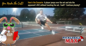 Player Jumps Over Net and into Opponent's Court — Great Shot or Fault?  What Say You?
